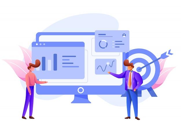Marketing dei dati visivi e dati aziendali, illustrazione dell'analisi digitale