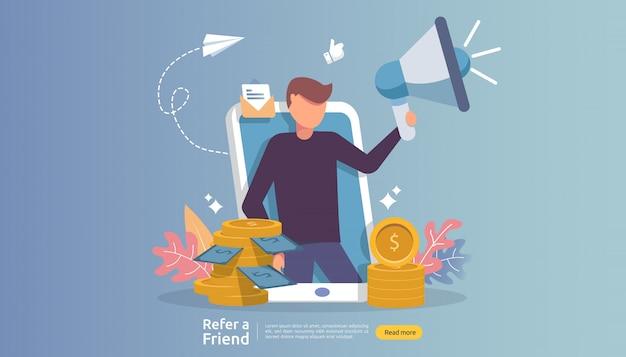 Marketing di affiliazione. riferire una strategia di amicizia. il personaggio della gente grida il megafono condividendo la collaborazione commerciale di riferimento e guadagna soldi.