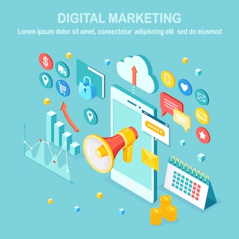 Marketing digitale. cellulare isometrico, smartphone con soldi, grafico, cartella, megafono, altoparlante, megafono. pubblicità della strategia di sviluppo aziendale. analisi dei social media