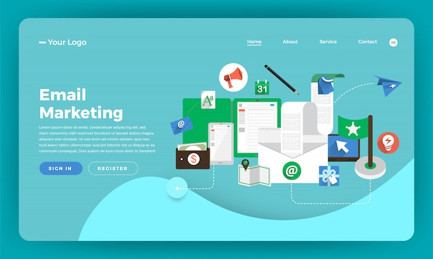 Marketing digitale del concetto di sito web. marketing via email. illustrazione.