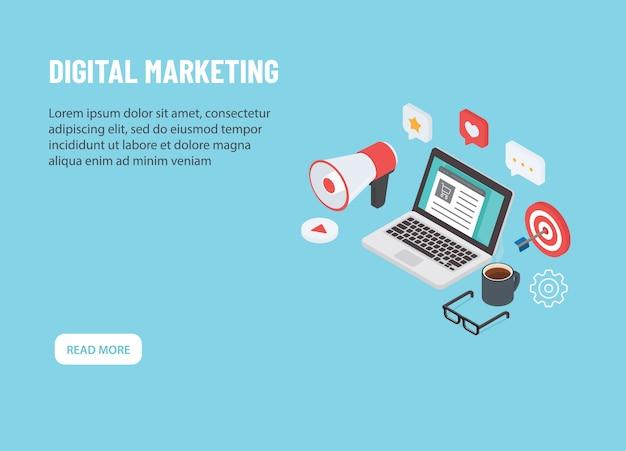 Marketing digitale isometrico. computer portatile con icona di marketing online