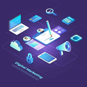 Marketing digitale isometrico