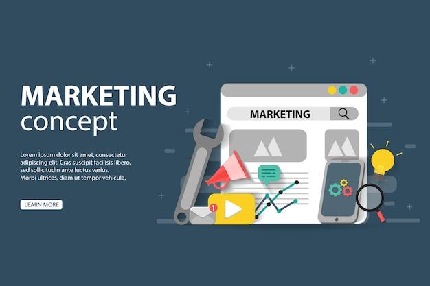 Marketing digitale, lavoro di squadra, strategia aziendale e analisi, per lo sviluppo di siti web e siti web mobili