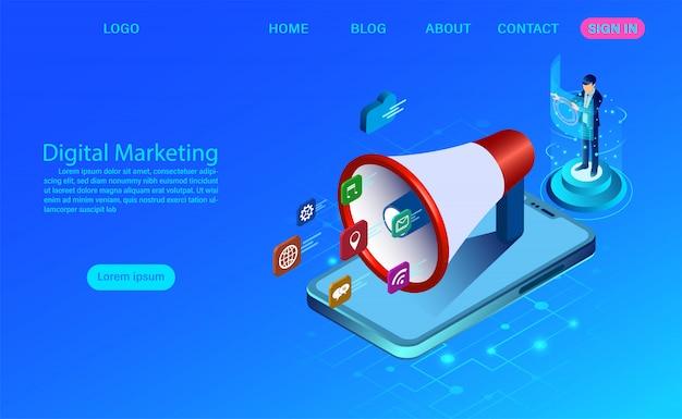 Marketing digitale per banner e sito web. analisi aziendale, strategia e gestione dei contenuti. illustrazione piatto campagna di media digitali con icona