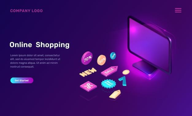 Marketing digitale, shopping online isometrico