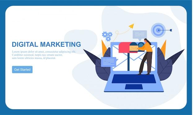 Marketing digitale smm, banner piatto pubblicitario online influencer