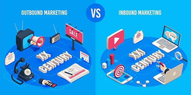 Marketing in uscita e in entrata. generazioni pubblicitarie del mercato isometrico, magnete di vendita dei mercati online e megafono di annunci