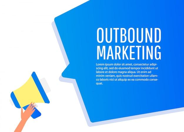Marketing in uscita. etichetta del megafono. banner per affari, marketing e pubblicità.