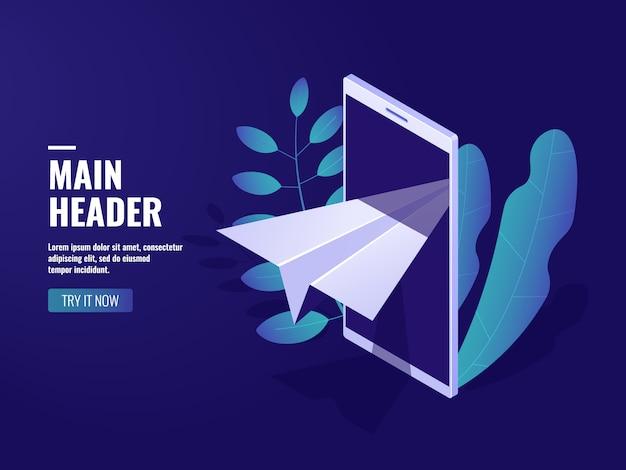 Marketing online, messaggio in arrivo, aereo di carta, cellulare