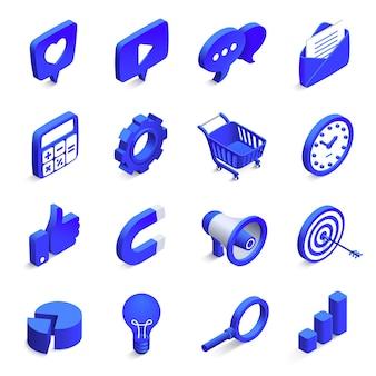 Marketing sociale isometrico. commercializzazioni in entrata e in uscita, magnete per denaro e icona simile. icone di vettore della rete della comunità 3d messe