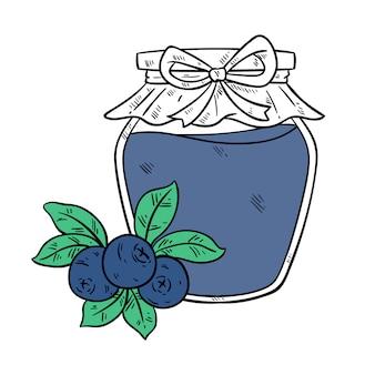 Marmellata di mirtilli con vaso utilizzando schizzo o stile disegnato a mano