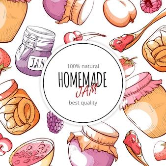Marmellata fatta in casa naturale e sfondo di marmellata