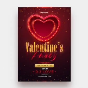 Marquee illuminazione a forma di cuore con glitter testo di san valentino