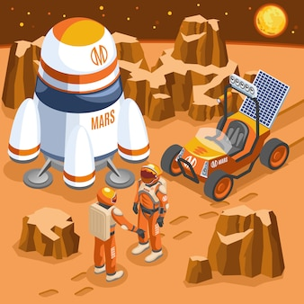 Mars exploration isometric illustration