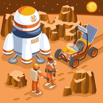 Mars exploration isometric illustration