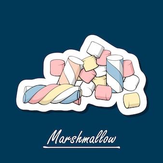Marshmallow disegnati a mano. illustrazione di colorfull di dolci.