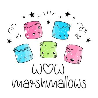 Marshmallow. vector set in stile di kawaii, cartone animato, emoji.