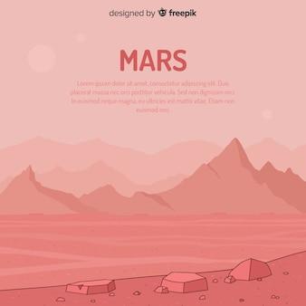 Marte disegnati a mano sullo sfondo del paesaggio