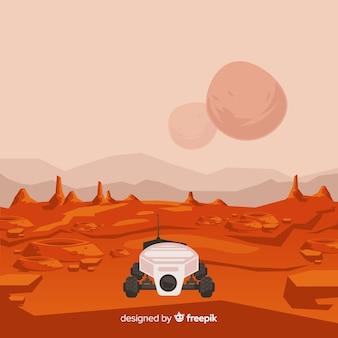 Marte paesaggio sfondo con design piatto