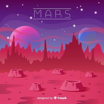 Marte sullo sfondo del paesaggio