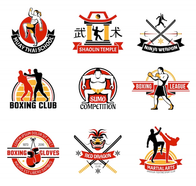 Martial clubs colorful emblems
