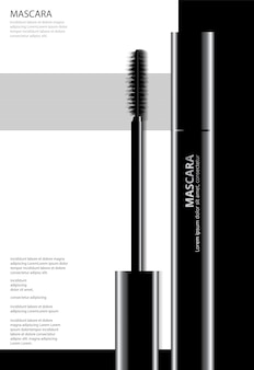 Mascara cosmetica del manifesto con l'illustrazione di vettore di imballaggio