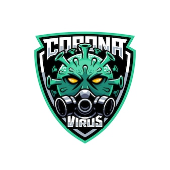 Maschera antigas da portare della mascotte di coronavirus nell'illustrazione logo scudo