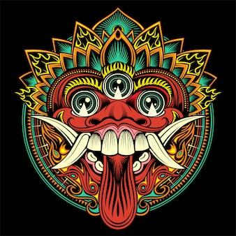 Maschera balinese rituale tradizionale. illustrazione di contorno vettoriale