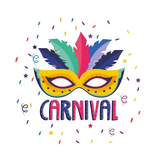 Maschera con decorazione di piume alla celebrazione del festival