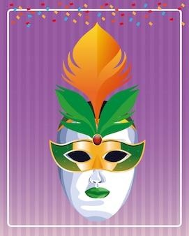 Maschera con illustrazione vettoriale di piume
