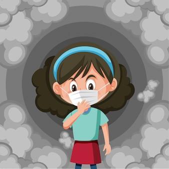 Maschera da portare della ragazza con fumo sporco