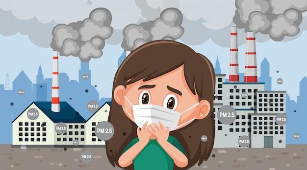 Maschera da portare della ragazza davanti alla costruzione della fabbrica con il fumo che esce