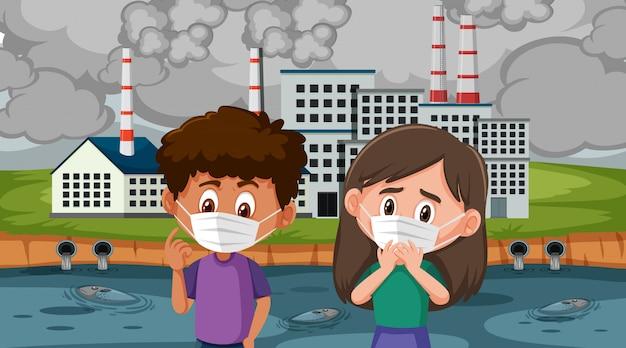 Maschera da portare della ragazza e del ragazzo davanti alle costruzioni della fabbrica