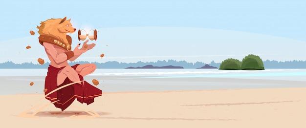 Maschera del cane da portare dell'uomo nei vestiti tradizionali della cina tiene il nuovo anno cinese del paesaggio del mare della vigilanza della sabbia sopra