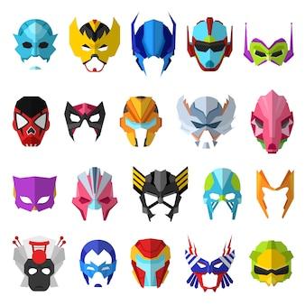 Maschera del supereroe della maschera dell'eroe e insieme dell'illustrazione del personaggio dei cartoni animati del fronte di mascheramento del simbolo mascherato potente su fondo bianco
