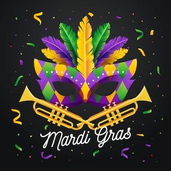 Maschera design piatto mardi gras con scritte