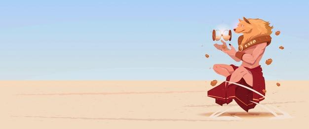 Maschera di cane d'uso dell'uomo in vestiti tradizionali della cina tiene l'orologio della sabbia nel nuovo anno cinese del deserto