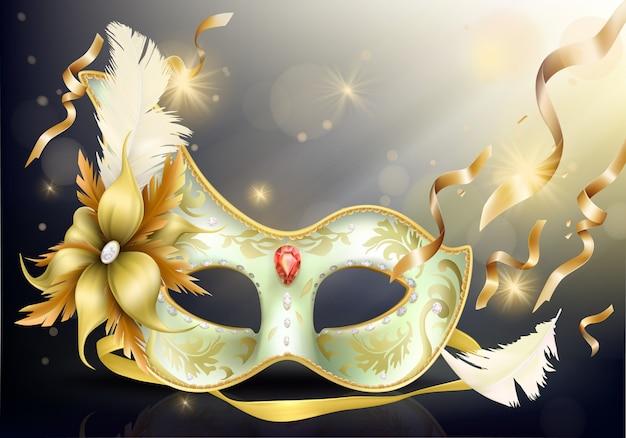 Maschera di carnevale faccia preziosa realistica