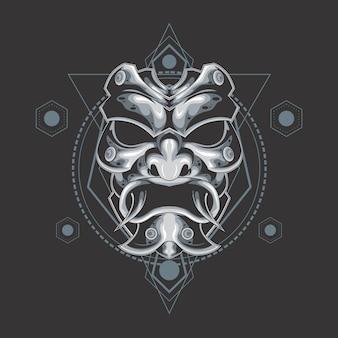 Maschera di demone d'argento geometria sacra
