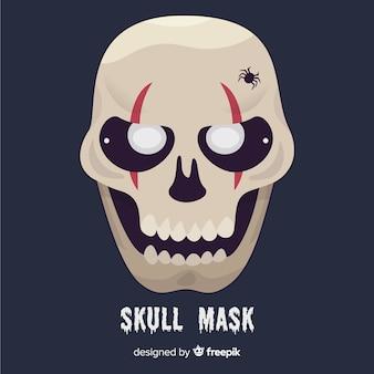 Maschera di halloween raccapricciante con design piatto