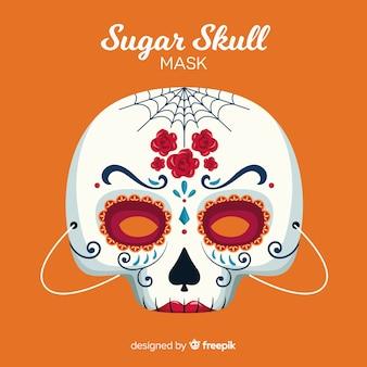 Maschera di teschio di zucchero di halloween in design piatto