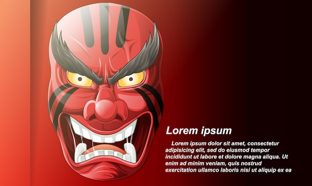 Maschera giapponese in stile cartoon.