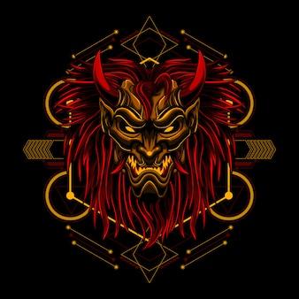 Maschera longilinea di ronin vettore diabolico del diavolo