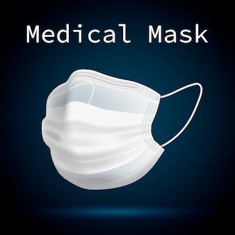 Maschera medica per proteggere le persone da virus e aria inquinata. immagine volumetrica 3d.
