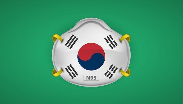 Maschera n95 con bandiera della corea del sud protezione per coronavirus 2019 ncov