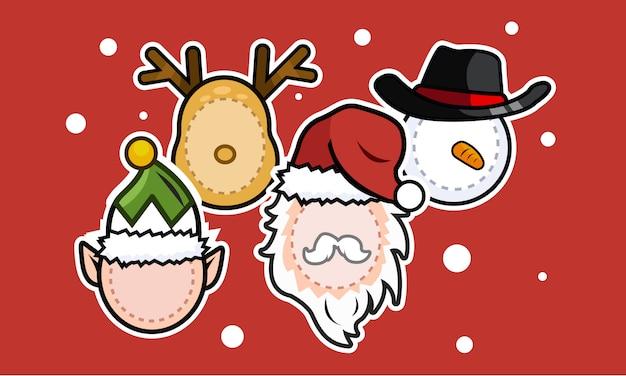 Maschera natalizia santa, elfo, pupazzo di neve, renne