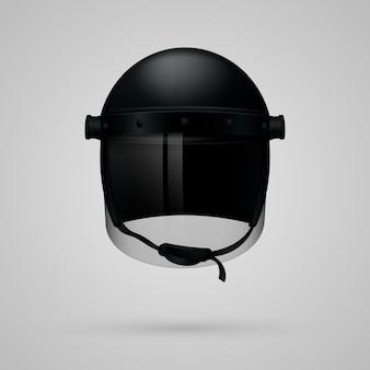 Maschera nera del casco della polizia realistica isolata sulla luce.