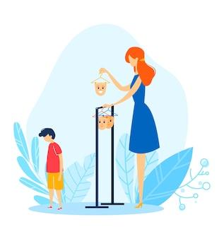Maschera per il viso del bambino, madre del fumetto sceglie l'umore per il bambino, illustrazione. problema familiare con emozione di persona, espressione di carattere giovane