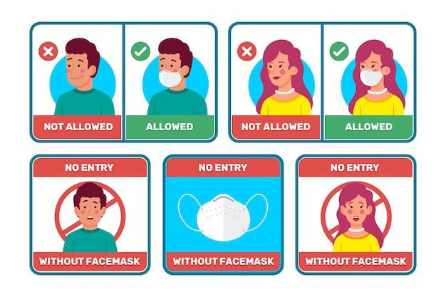 Maschera per il viso richiesta raccolta di segni