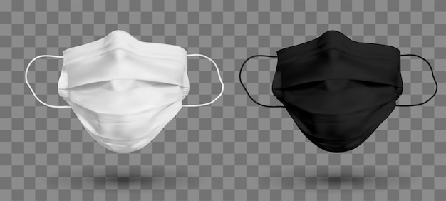 Maschera protettiva in bianco e nero o maschera medica. per proteggere il coronavirus e l'infezione. maschera medica isolata su sfondo trasparente. illustrazione realistica